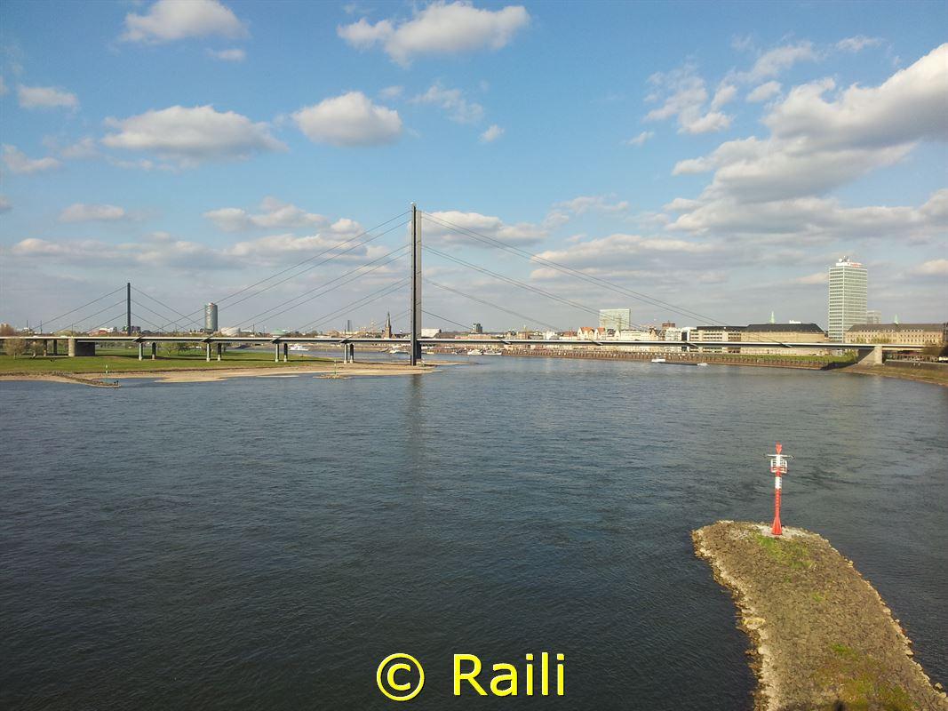 Blick über den Rhein auf die Kniebrücke
